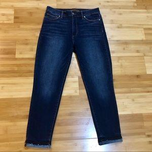 Joe's High Waist Frayed Hem Rolled Jeans 30x26